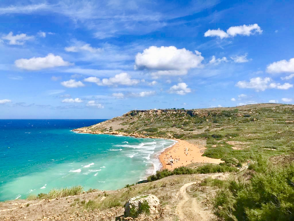 view of Ramla Bay Beach on Gozo, Malta